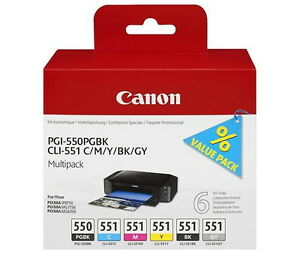 6-Canon-Druckerpatronen-original-Tinte-PGI-550-PGBK-CLI-551-BK-C-M-Y-GY
