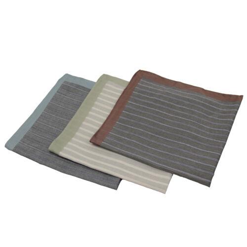 3 Men/'s Stripe Handkerchiefs  Pocket Square Hanky 100/% Cotton 60S Yarn Count