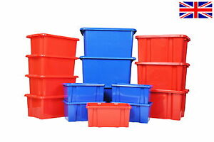 Image is loading Coloured-Plastic-Storage-Boxes-Strong-Large-&-Small-  sc 1 st  eBay & Coloured Plastic Storage Boxes Strong Large u0026 Small Nursery School ...