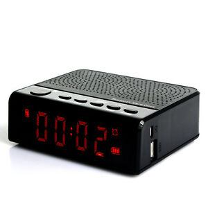 fm radio wireless speaker alarm clock with mp3 player phone call 2000ma dc 5v ebay. Black Bedroom Furniture Sets. Home Design Ideas