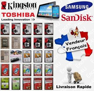 Carte-Memoire-MicroSD-KINGSTON-SAMSUNG-SANDISK-TOSHIBA-4-8-16-32-64-Go-au-choix