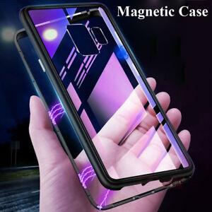 Pour-Samsung-J4-J6-Plus-J8-Absorption-magnetique-Metal-housse-Verre-trempe-coque