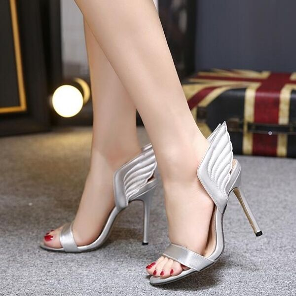 Damens's Sandale heel 12 cm elegant stiletto jewel silver like Leder CW481