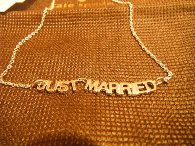 Kate Spade Bride Say Yes Just Married Silvertone Necklace