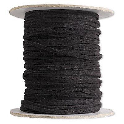 Necklace Bracelet Cord, Faux Leather, Suede Lace Black Soft Cotton Vegan 25 feet