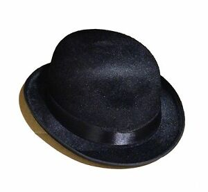 Deluxe Adult Black Bowler Hat Derby Cap Wool-Like The Son of Man ... 2cb46e2c7039