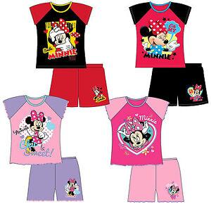 Filles-Enfants-Disney-Minnie-Mouse-Shortie-pyjamas-pjs-T-shirt-shorts-set-12m-10y