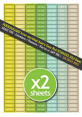 378 PERSONALISED Colour Coded Calendar Planner Diary Stickers Sheets 2 x A4