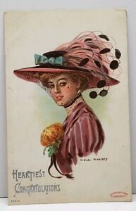 Heartiest-Congratulations-Pretty-Lady-Large-Hat-Earl-Christy-1908-Postcard-G13