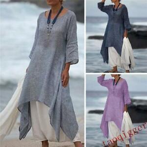 Women-Boho-Irregular-Cotton-Linen-Long-Sleeve-Maxi-Holiday-Casual-Kaftan-Dress