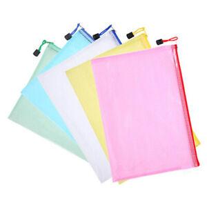 Aktenbeuteln-Kunststoff-Reissverschluss-Aktentaschen-Datei-Tasche-Ordner-5-Stueck