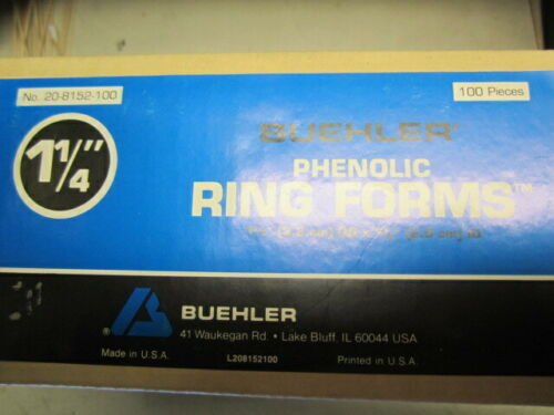 "old stock p//n 20-8152-100 100 Pcs Buehler phenolic 1 1//4/"" ring forms New"