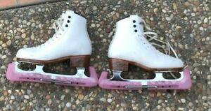 800-Riedell-White-Ice-Figure-Skates-JOHN-WILSON-Jubilee-Blade-Girls-Size-2-4