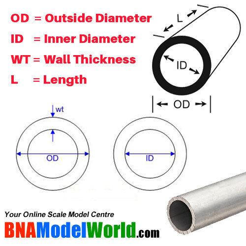 OD L 0.889mm K/&S Metals Round Aluminum Tube 305mm WT 4.76mm