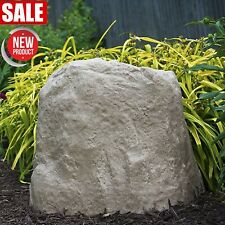 Plastic Fake Rock Cover Gray Concealing Lawn Pipe Well Pump Hide Landscape Decor