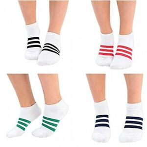 Black And Turquoise Blue Thick Striped Ankle Socks Size: 4-7