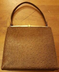aef2704c3fbf Image is loading Vintage-1960s-Brown-Ostrich-Leather-Baguette-Handbag