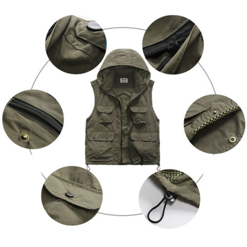 Fishing Vest Detachable Hood Back Quick-Dry Hunting Fishing Waterproof Vest