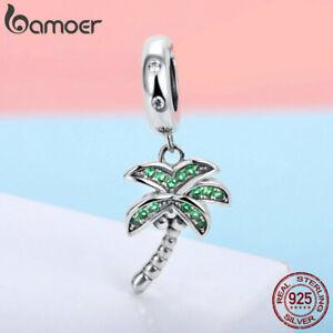 Women-Authentic-S925-Sterling-Silver-Charm-coconut-tree-Cz-Charms-Fit-Bracelet