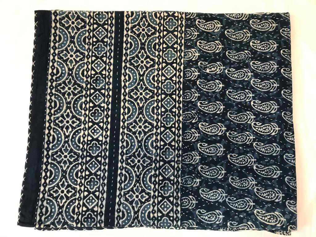 Indian Handmade Quilt Vintage Kantha Bedspread Throw Cotton Blanket GudriQueen