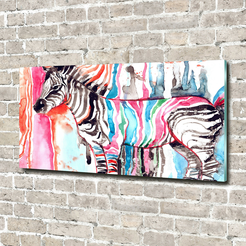 Acrylglas-Bild Wandbilder Druck 140x70 Deko Kunst Bunter Zebra