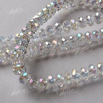 4x6MM AB Clear Crystal Glass Faceted Rondelle Loose Beads Jewelry Findings
