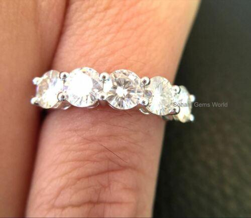 5 Stones Moissanite 2.50 Ct Wedding Anniversary Band Ring 14k White Gold Over
