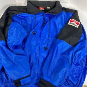 Marlboro-Mens-Windbreaker-Jacket-Blue-Full-Zip-Pockets-Mesh-Lined-Vintage-L