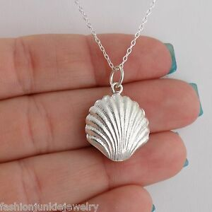3D-Shell-Charm-Necklace-925-Sterling-Silver-NEW-Beach-Ocean-Clam-Sea-Shells
