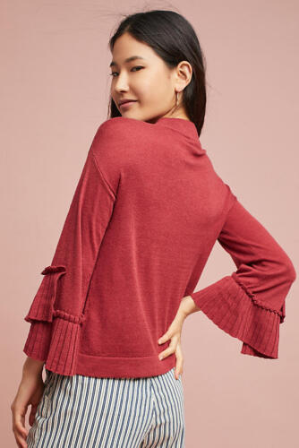 Anthropologie Pleated L Sz Eri Pullover Nwt Af Ali sleeve Sweater 64dHq