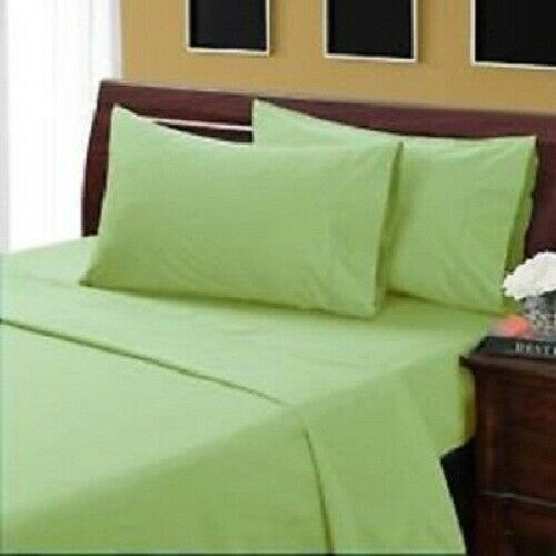 4 PCs Bed Sheet Set All US Size 1000 Thread Egyptian Cotton Sage Solid
