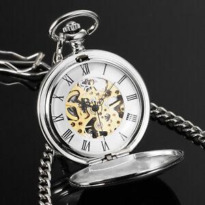 Mens-Vintage-Pocket-Watch-Silver-Case-Mechanical-Skeleton-Gift-Full-Gloss-Chain