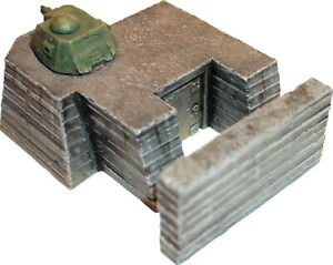 Artmaster-80-011-Tobruk-mit-Panzerturm-H0-1-87-Bausatz-Keramik-Bunker