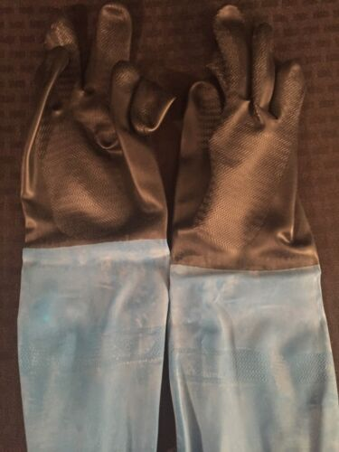 2 NEW PAIRS BEST CHEM MASTER Natural Rubber Flock-Lined Gloves CHMM-08 Medium