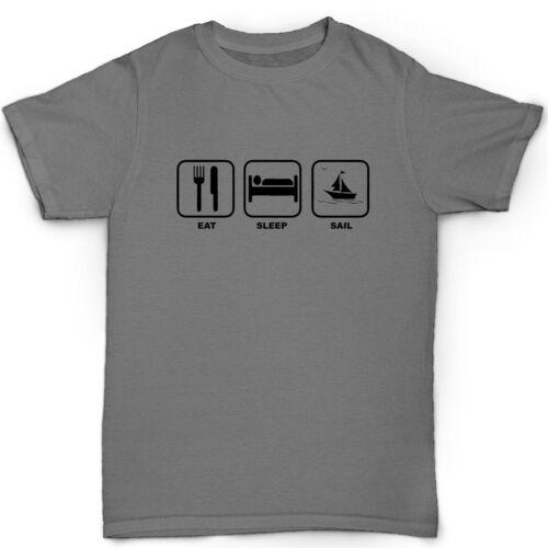 Eat Sleep Voile répéter homme voile T-shirt organique cadeau de noël Bateau drôle
