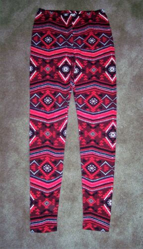 WOMEN/'S FLEECE LINED RED GEOMETRIC LEGGINGS ASSORTED SIZES NEW W//TAGS FREE SHIP