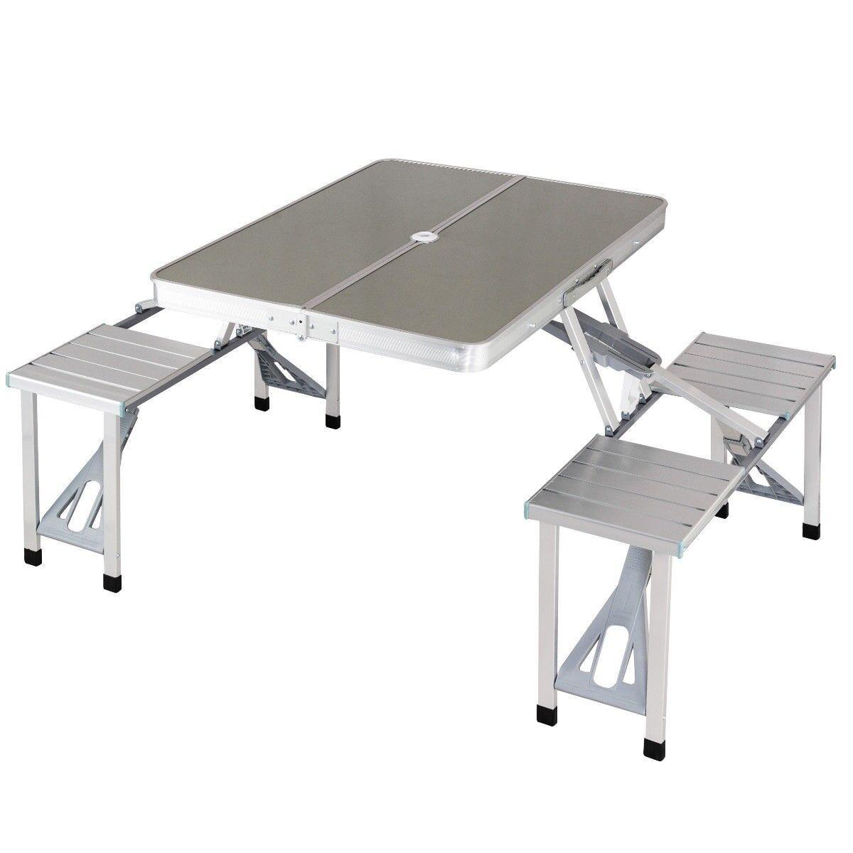 Portable Folding Picnic Table 4 Seats Foldable Aluminum Steel Camping Waterproof