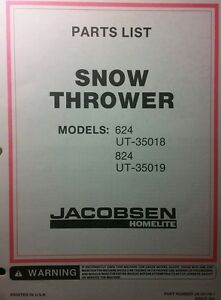 jacobsen snow blower parts manual 8pg thrower 624 ut 35018 824 ut rh ebay com jacobsen 826 snowblower manual jacobsen homelite 320 snowblower manual