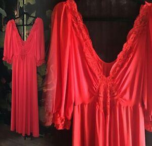 vintage red lilith lingerie lace dress women's large xl