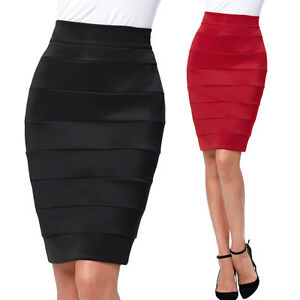 Image Is Loading Womens Short High Waist Stretchy Work Wear Office