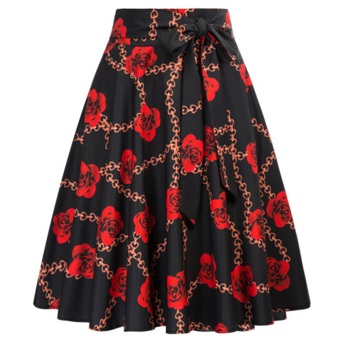 Women Flared A-Line Swing Skirt Pleated Holiday Evening Party Bow Knot Skirts