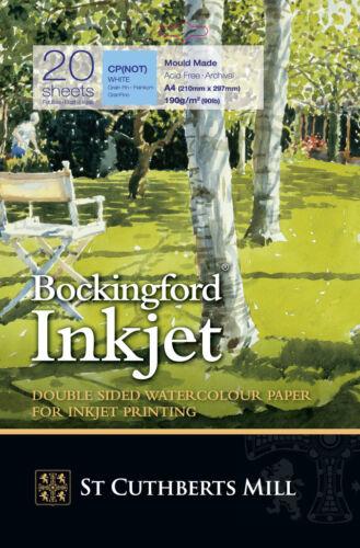 A4-20 Sheet Pack Bockingford Inkjet Watercolour Digital Printer Paper
