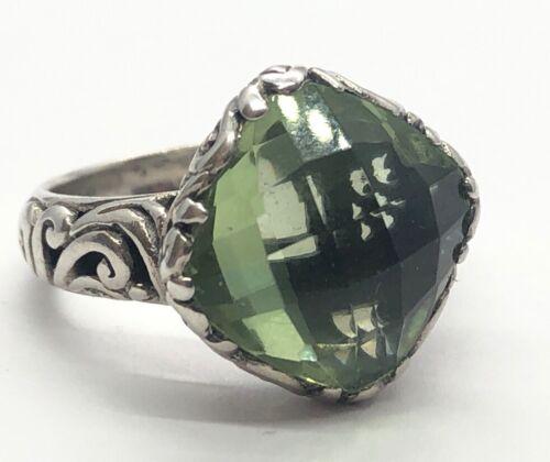 Sterling Silver Green Quartz Filigree ring sz 8.5