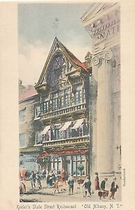 ALBANY-NY-Hand-Colored-Postcard-of-Keeler-039-s-State-Street-Restaurant-udb
