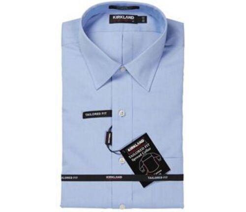 NWT KIRKLAND TAILORED FIT NON-IRON 80//2 SPREAD COLLAR DRESS SHIRT BLUE 15.5 33