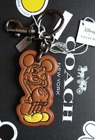 Coach X Disney Mickey Mouse Leather Key / Ring - Bag Charm Rare Brown