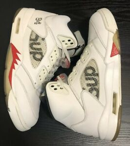 size 40 caa81 7ba1c Details about Nike Air Jordan 5 Retro Supreme White Size 11 350 V2 500 700  750 Off White 1 3