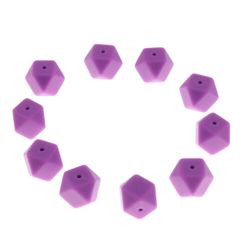 10Pcs BPA-Free Silicone Beads Geometric Polygon Baby Teether Necklace DIY