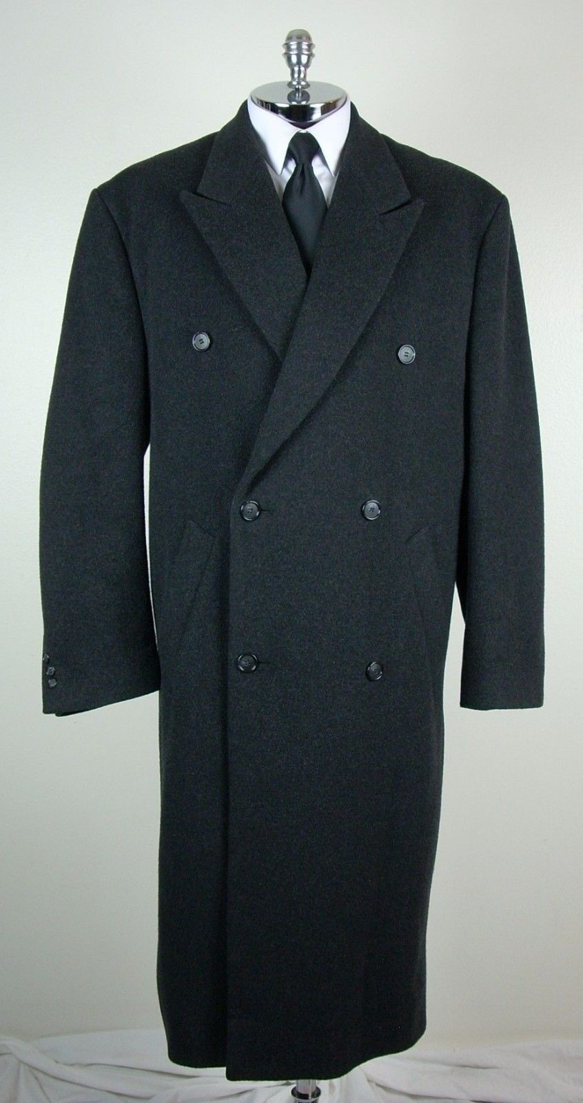 ALFANI / MACY'S  Herren Charcoal WOOL & CASHMERE BLEND Long Coat Größe 44 L