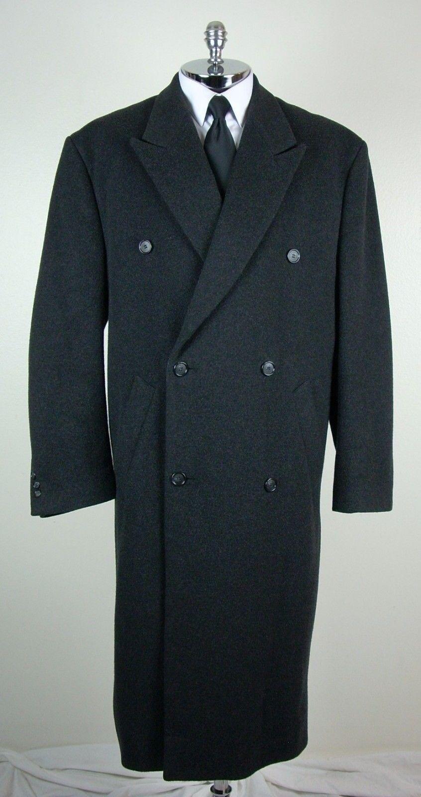 ALFANI   MACY'S Mens Charcoal WOOL & CASHMERE BLEND Long Coat size 44 L